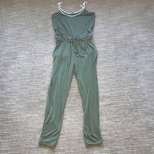 Zara green and white trim jumpsuit with drawstring